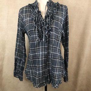 cae369fc Cino Button Down Ruffle Crinkle Shirt Grey Plaid